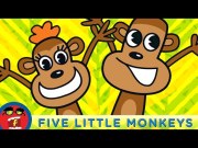 Five Little Monkeys | Fredbot Nursery Rhymes (Lucy the Dinosaur)